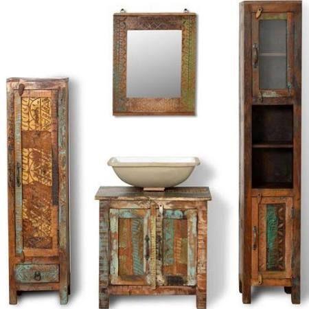 meuble salle de bain en bois exotique recyclé - Recherche Google ...
