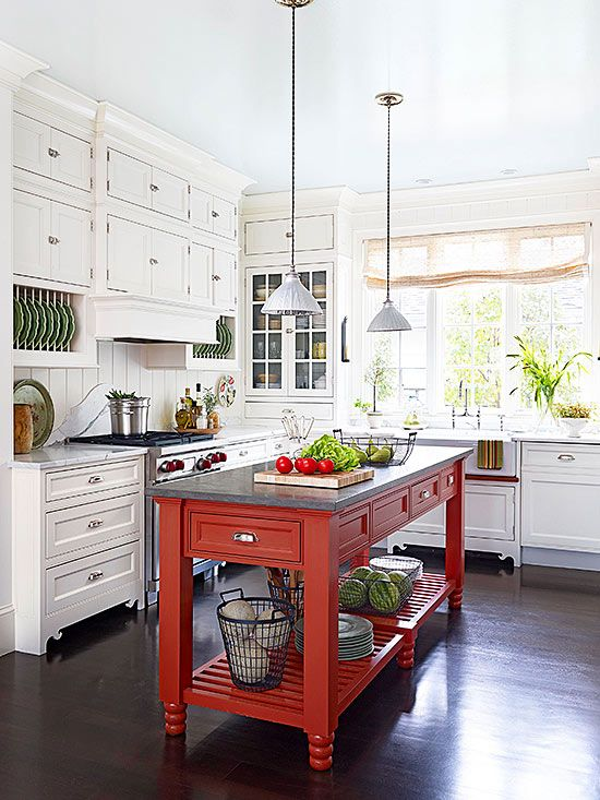 A bright red island adds much-needed color and personality to this on country farm kitchen pinterest, country style kitchens on pinterest, country green kitchen pinterest, country primitive home decorating ideas,