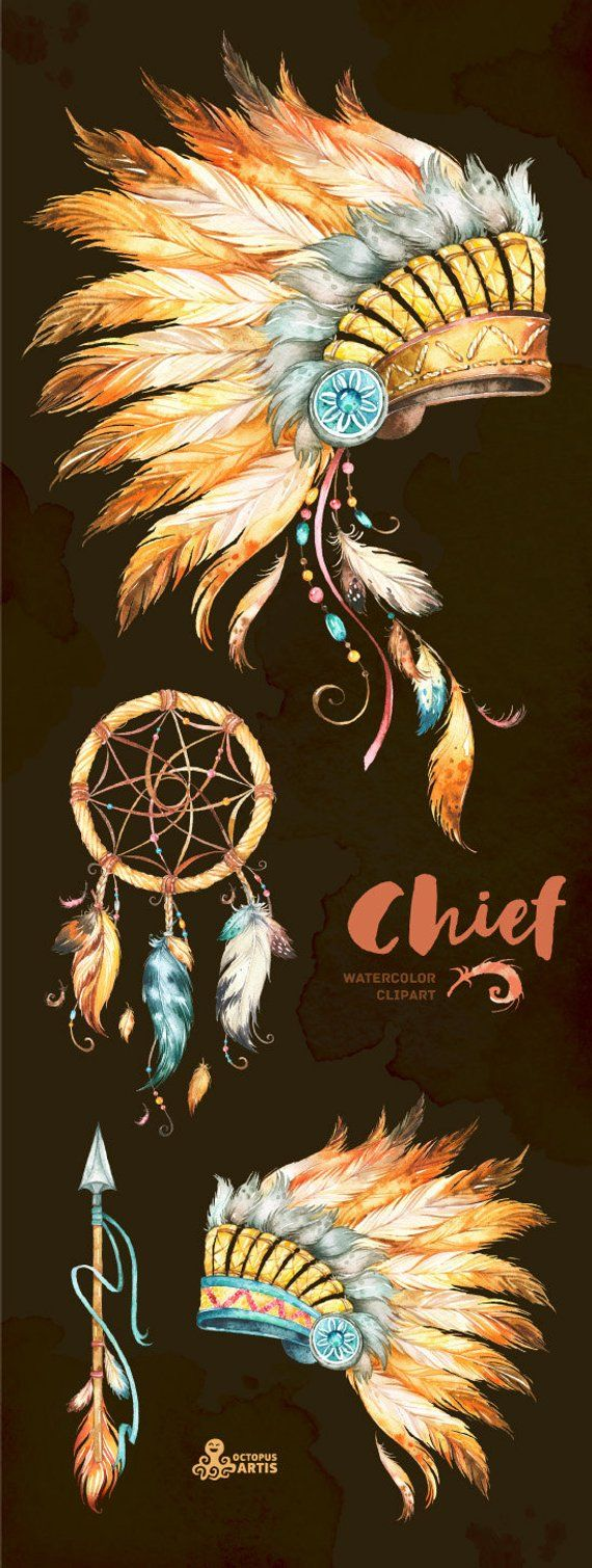 indian headdresses dreamcatcher and arrow watercolor [ 570 x 1509 Pixel ]