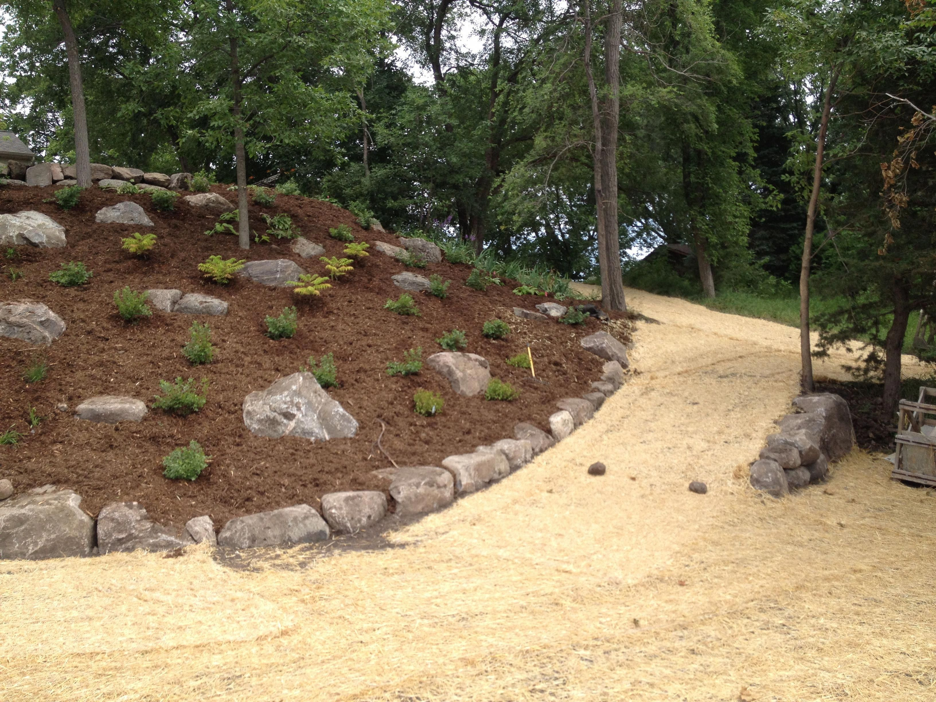 Landscaping Steep Hill Of A Steep Hill We Sucessfully Landscaped Contact Us Today To With Images Landscaping With Rocks Steep Hill Landscaping Landscaping With Boulders
