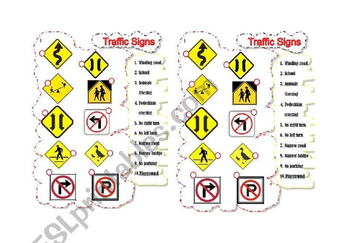 Traffic Signs Worksheet