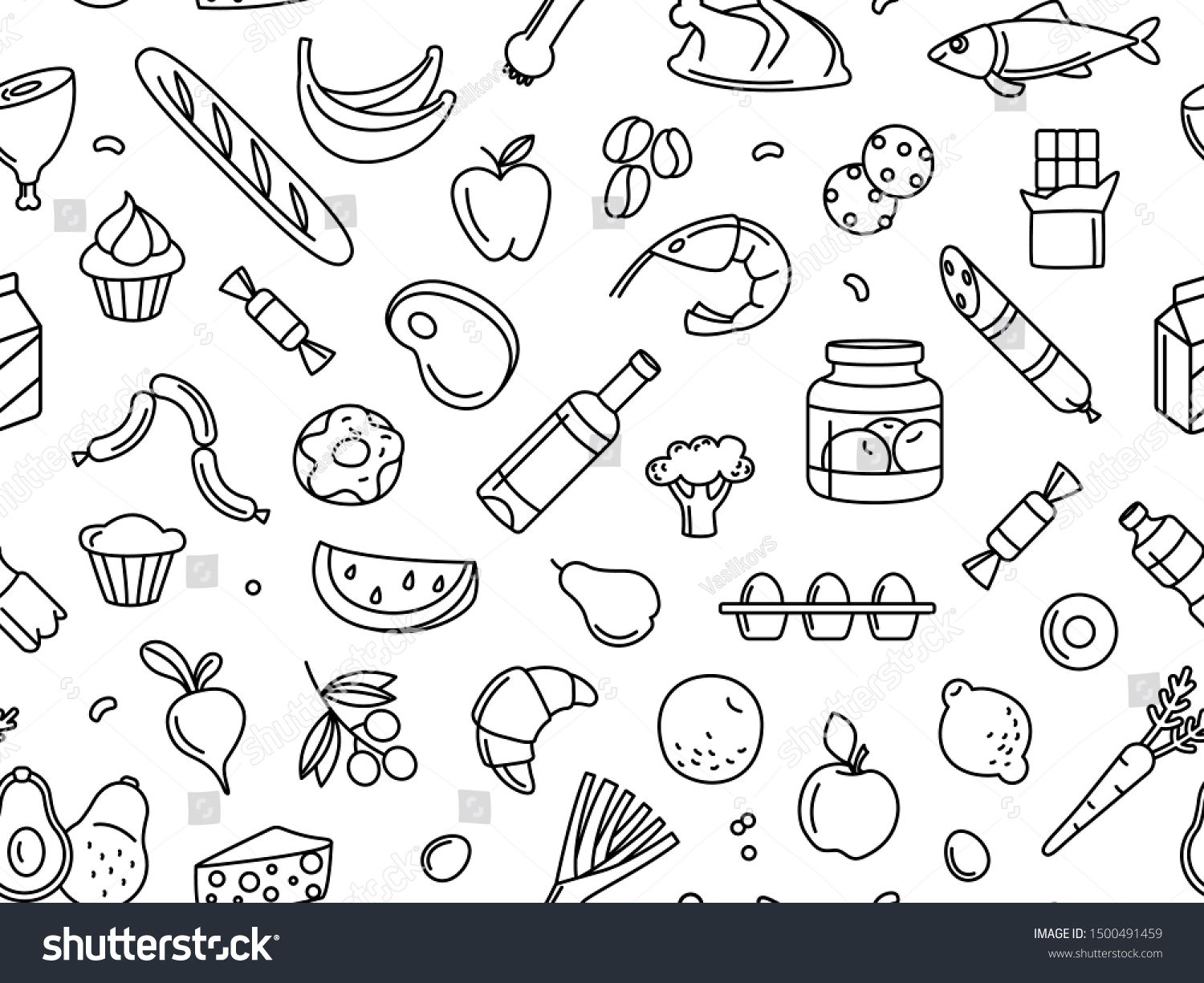 Supermarket grosery store food, drinks, vegetables, fruits, fish, meat, dairy, sweets market products goods seamless thin line icons background pattern. Vector illustration in linear simple style. #Sponsored , #Sponsored, #meat#fish#fruits#market