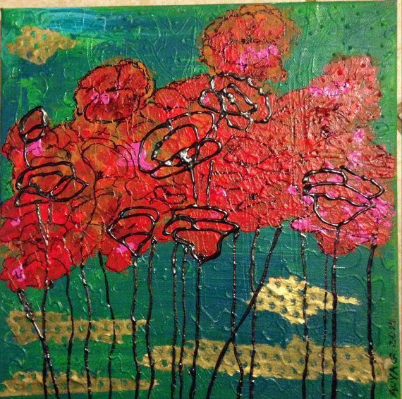 This is a mixed media painting on 12X12 canvas framed in 2 wide ...