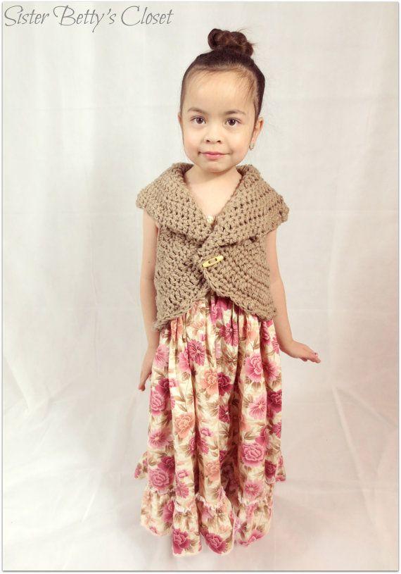 Aspen Crochet Circle Vest. Girls Clothing Vest. Cardigan. 12-24 months, 2t, 3t, 4t, size 5, size 6, size 7, size 8