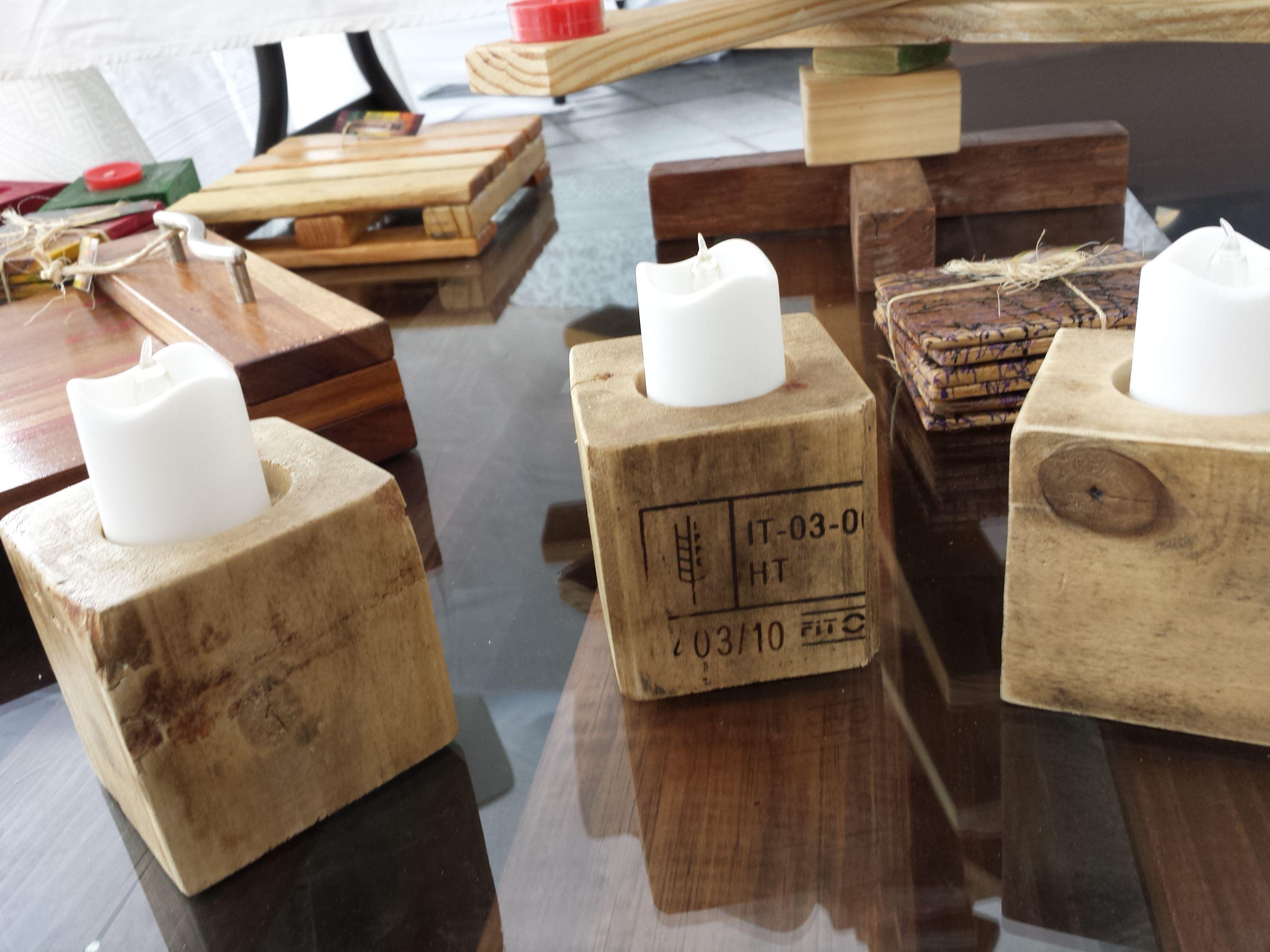 Porta velas / maderas recicladas / pallets / tarimas. by ...