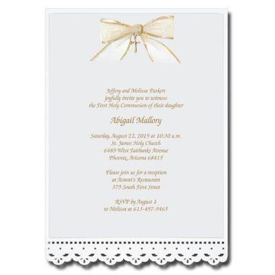 Lace Cut Invitation With Bow Communion Invitations