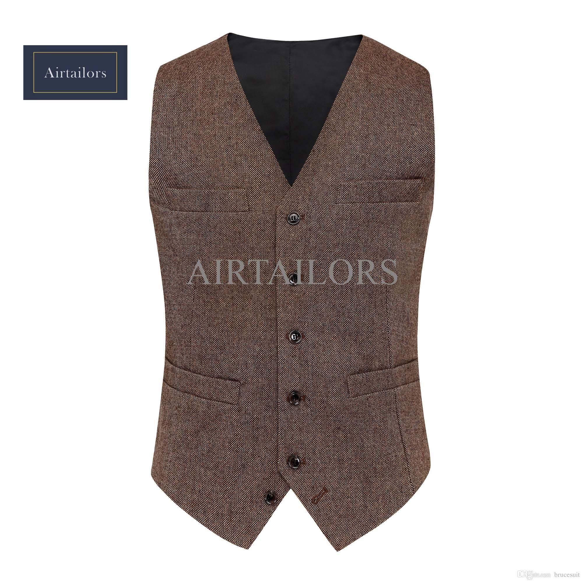 2017 Vintage Brown Tweed Weste Wolle Herringbone Bräutigam Westen ...