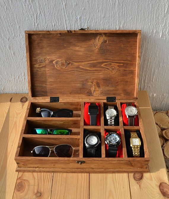 Rustic Men S Watch Box For 6 Watches Rustic Sunglasses Box Etsy Sunglasses Box Mens Watch Box Watch Holder