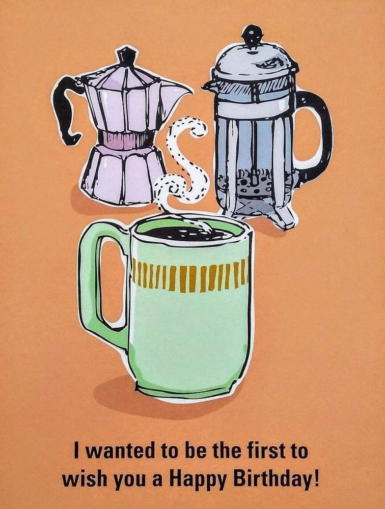 New happy birthday greeting card coffee cup mug french press seltzer new happy birthday greeting card unused coffee cup mug french press seltzer seltzer birthday m4hsunfo