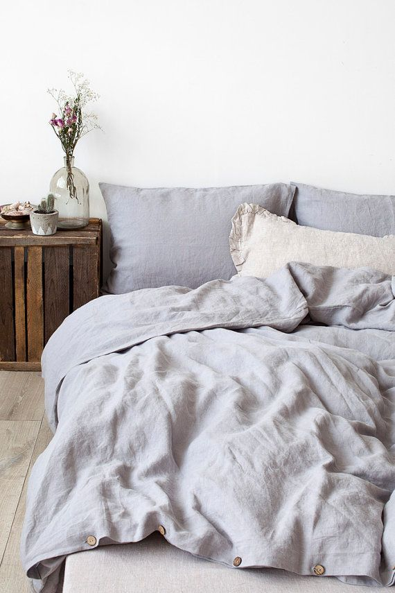 Light Grey Stone Washed Linen Duvet Cover By Linentalesinbed With