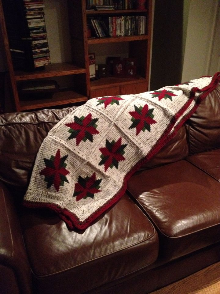 Christmas star afghan crochet