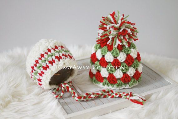 Newborn Photo Prop: Christmas Bonnet, Newborn Beanie, Crochet Knit Pixie Hat, Christmas Photography Props