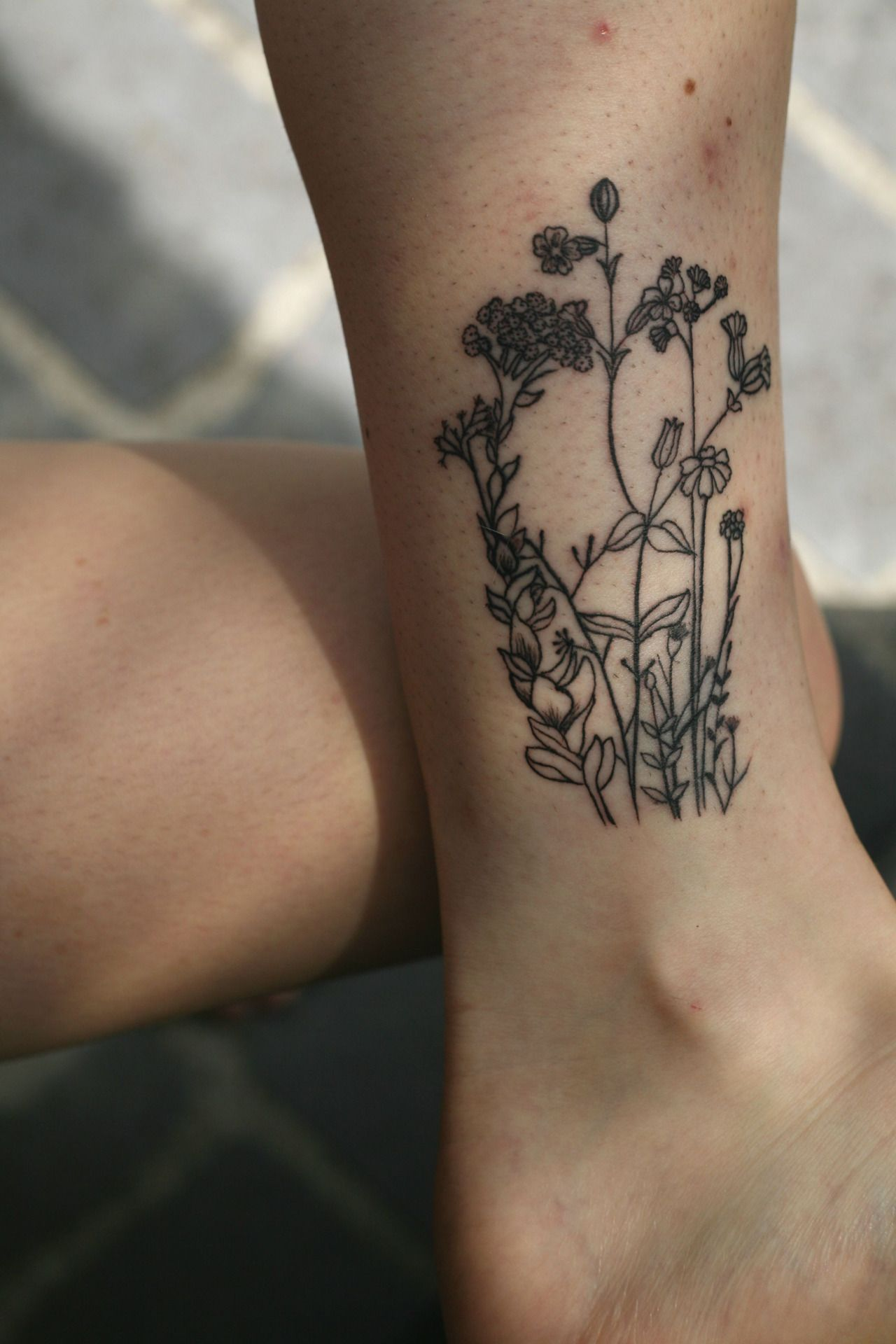 My first Little flower garden on my left ankle by Reggae at North