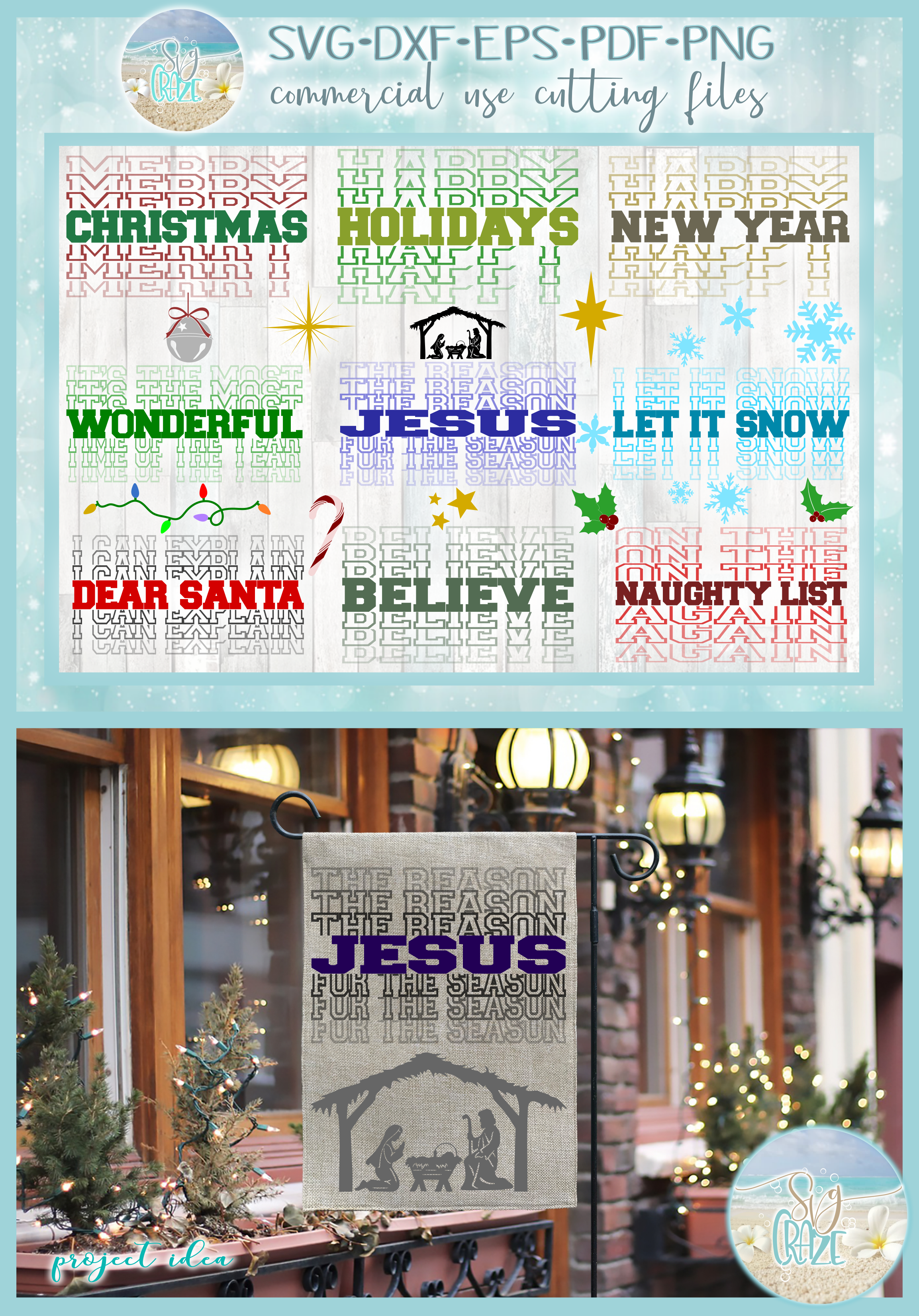 Christmas Mirrored Word Holiday Quotes & Designs Bundle