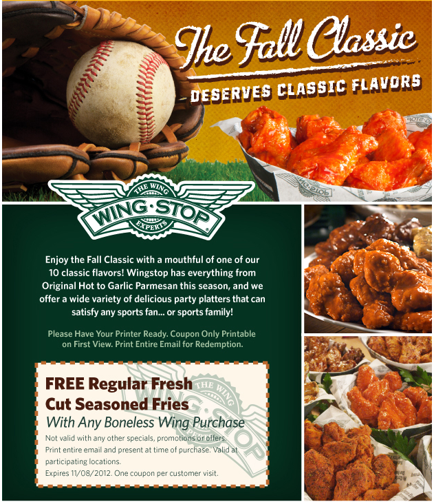 Wingstop Deal! Wingstop, Free printable coupons