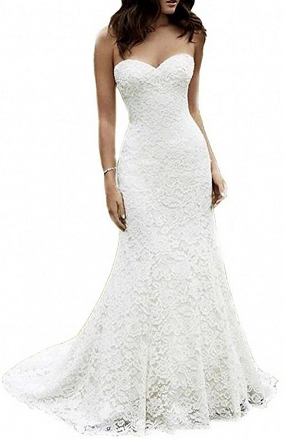 Meganbridal A-line Lace Long Sleeves Floor Length Wedding Dresses with Small Train V Neck Gowns
