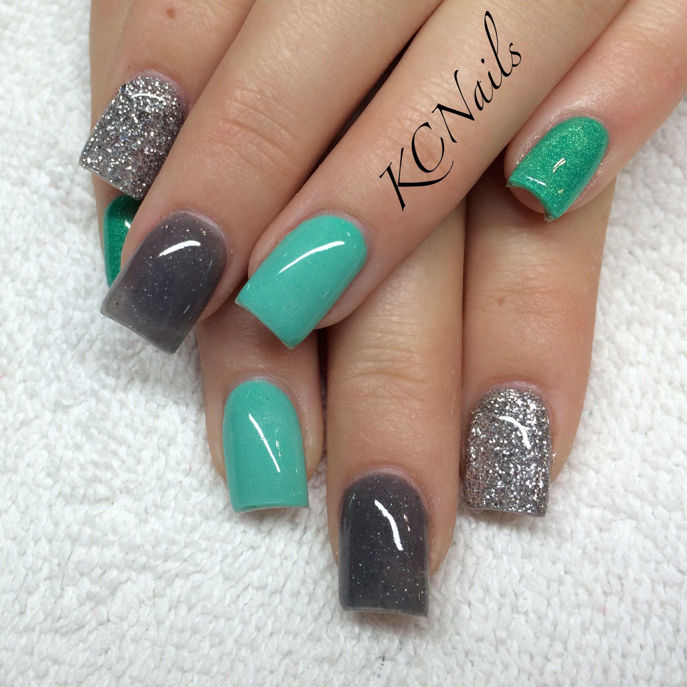 Silver, grey, mint gradient nails. KCNails | Nail Tech | Pinterest ...