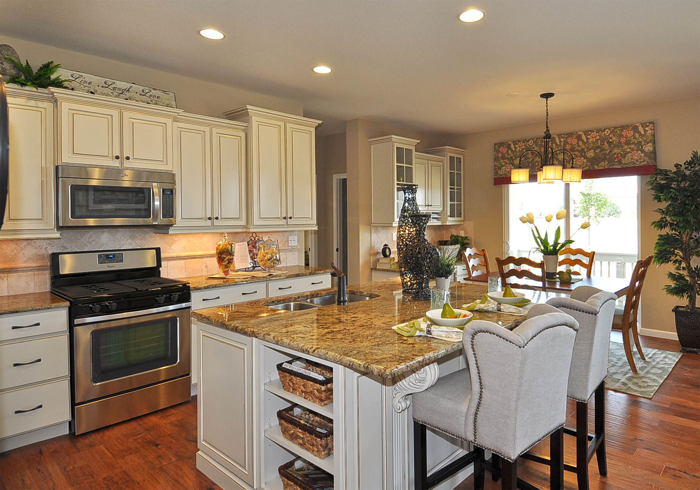 The traditional design of the kitchen in the washington model at observatory village in fort Kitchen design for village