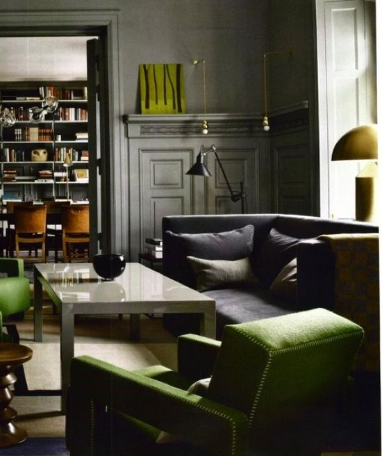 Grey And Dark Green Living Room charcoal walls, grass green, clean linesgreat masculine room
