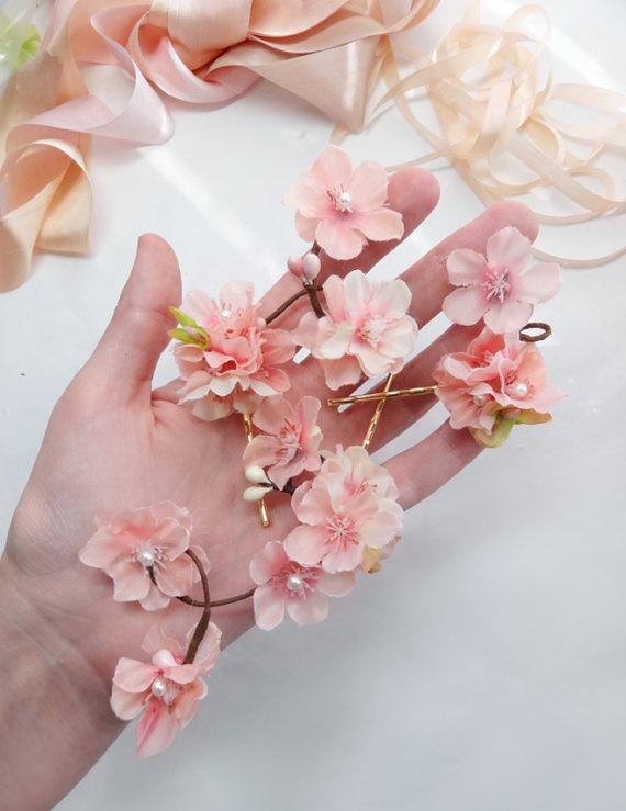 Cherry Blossom Hair Pins Pink Flower Hair Pin Cherry Blossom Etsy Pink Flower Hair Flower Hair Pin Flowers In Hair