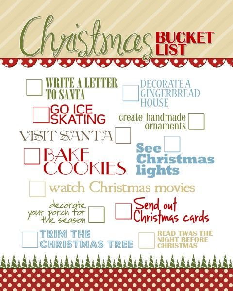 Christmas Bucket List {free printable Christmas bucket lists - free printable christmas lists