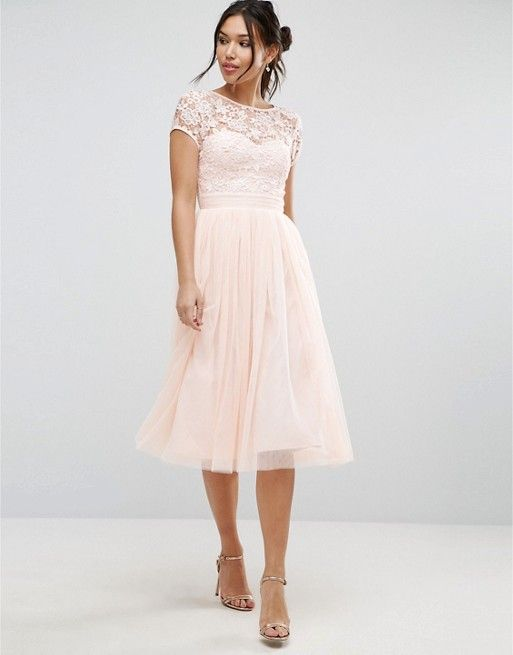 Little Mistress Short Sleeve Lace Bodice MiDi Dress With Tulle Skirt ...