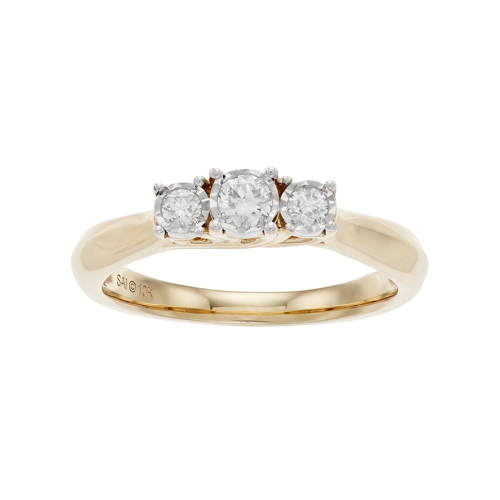 Jewels By Lux 10k Yellow Gold Genuine Birthstone Solitaire Oval Gemstone And Diamond Curve Wedding Engagement Ring