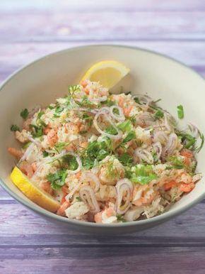 Salade de riz aux poissons et crevettes