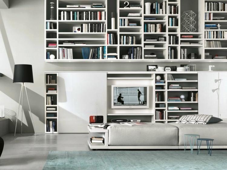 #Interior Design Haus 2018 Integrierte TV Möbel Mit Bibliothek   75 Moderne  Ideen #