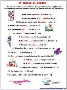 Scheda didattica di grammatica sulle lettere doppie for Baby flash italiano doppie