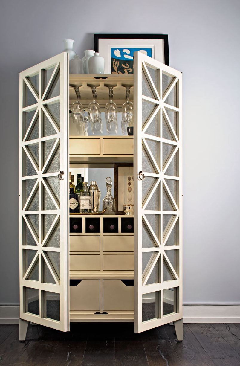 White Bar Cabinet With Doors. Classic Update: The Bar Cabinet