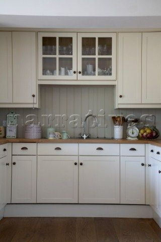 Wood painted kitchen units with tongue and groove splashback Arundel ...