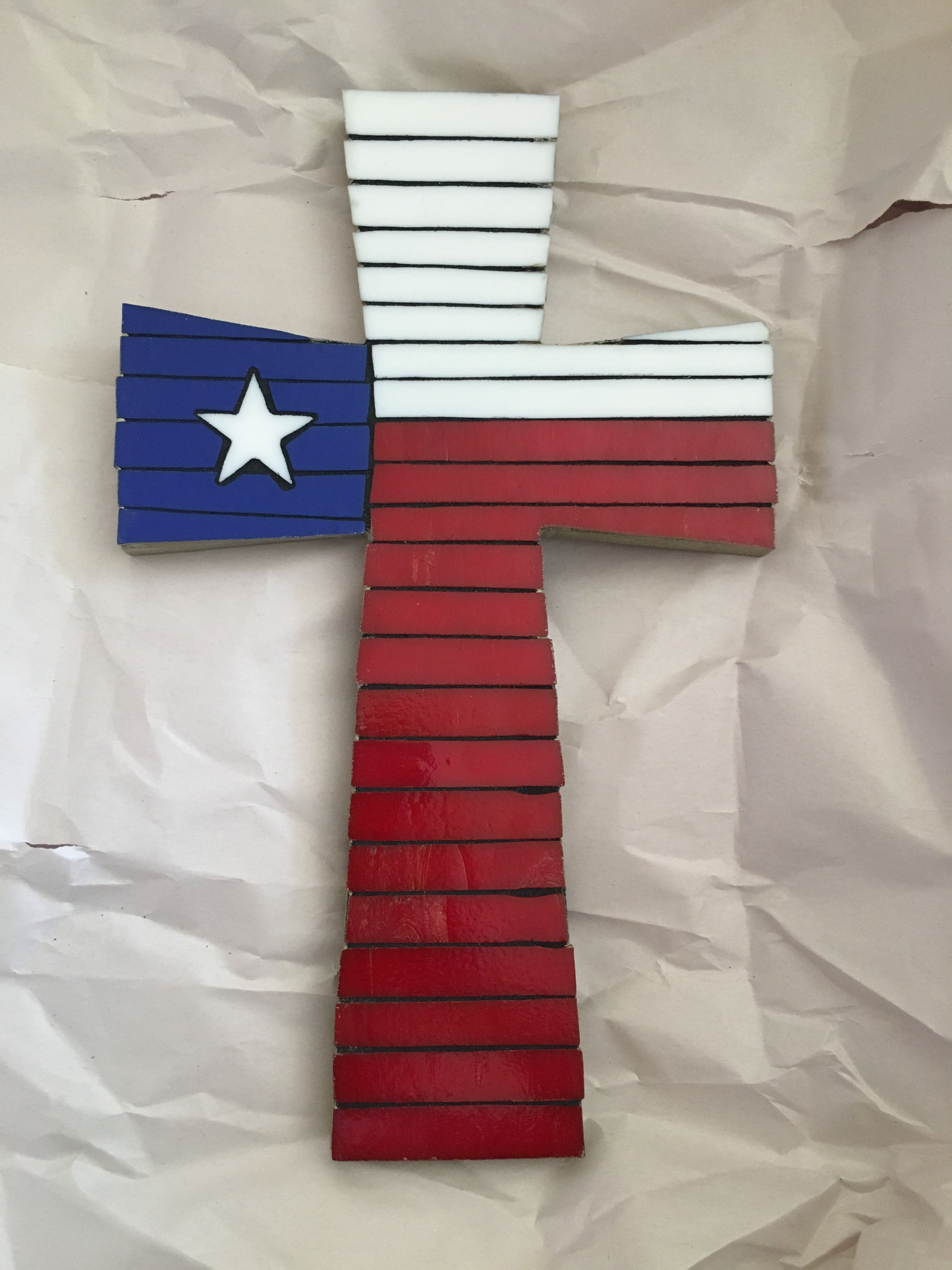 Glass Mosaic Cross With Texas Flag Colors And Style Mosaic Crosses Mosaic Glass Flag Colors