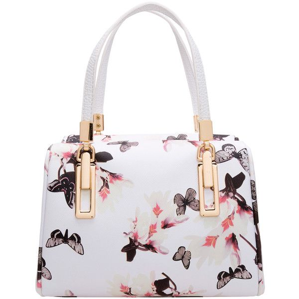 SheIn(sheinside) Black White Butterfly Print PU Bag (€27) ❤ liked on Polyvore featuring bags, handbags, tote bags, purses, accessories, borse, white, pattern handbag, pu purse and black white purse