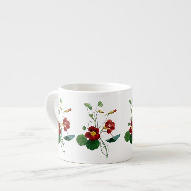 Nasturtiums Botanical Floral Espresso Mug #nasturtiums #garden #flowers #dark #red#botanical #gifts #gardenstyle #flowers #vintage #floral