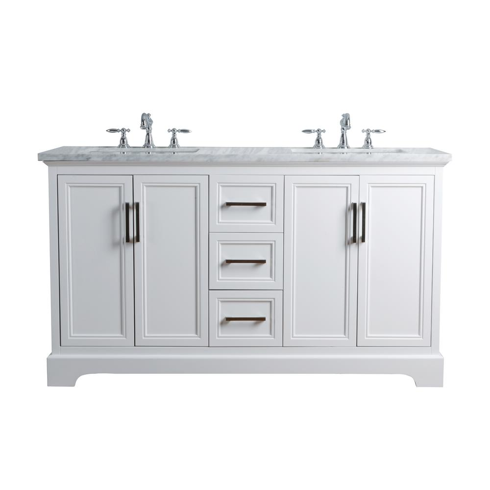 Stufurhome 60 In Ariane Double Sink Vanity In White With Marble Vanity Top In Carrara With White Basin