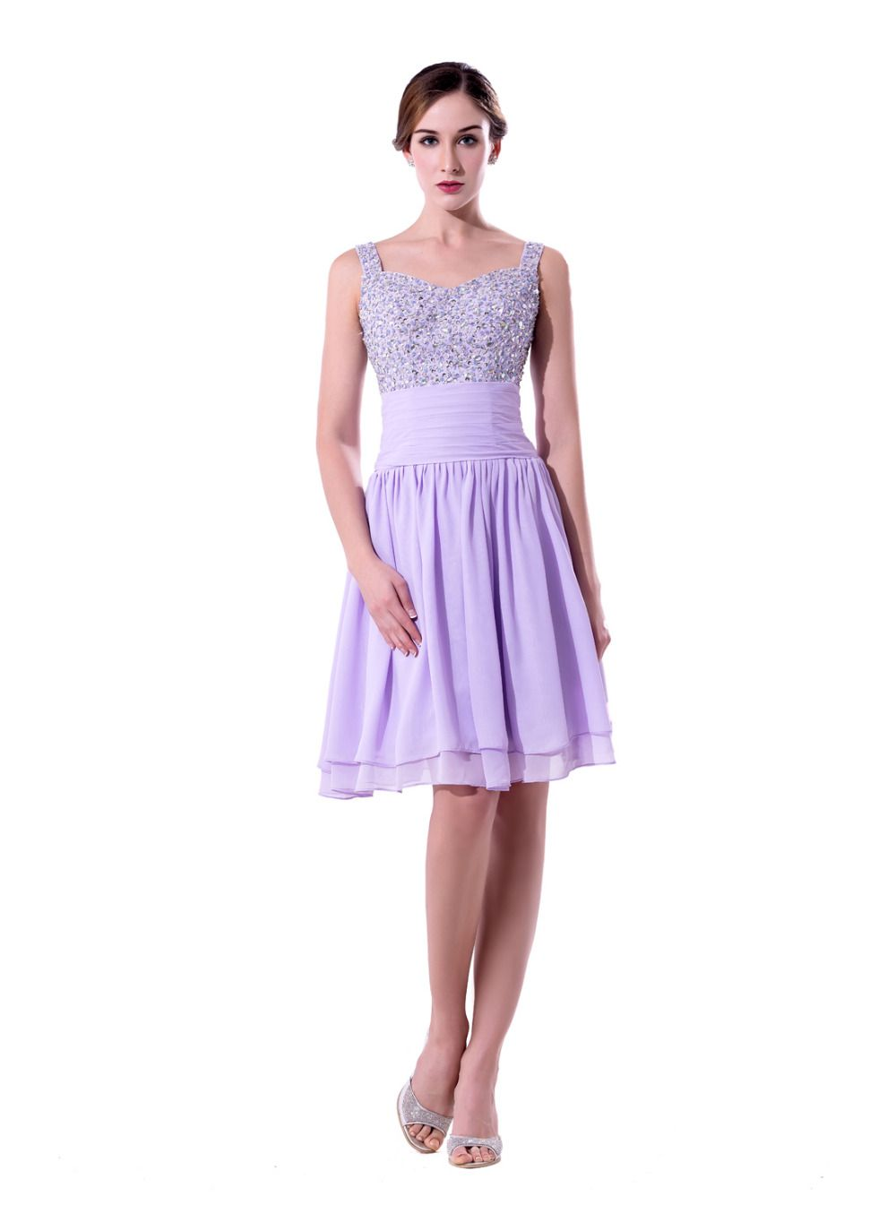 Click to buy 2017 new hot selling light purple short chiffon click to buy 2017 new hot selling light purple short chiffon bridesmaid ombrellifo Images