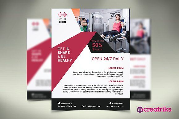 Fitness Flyer  Gym Flyer By Creatricks On Creativemarket