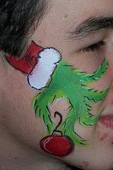 Grinch face paint christmas cheek art