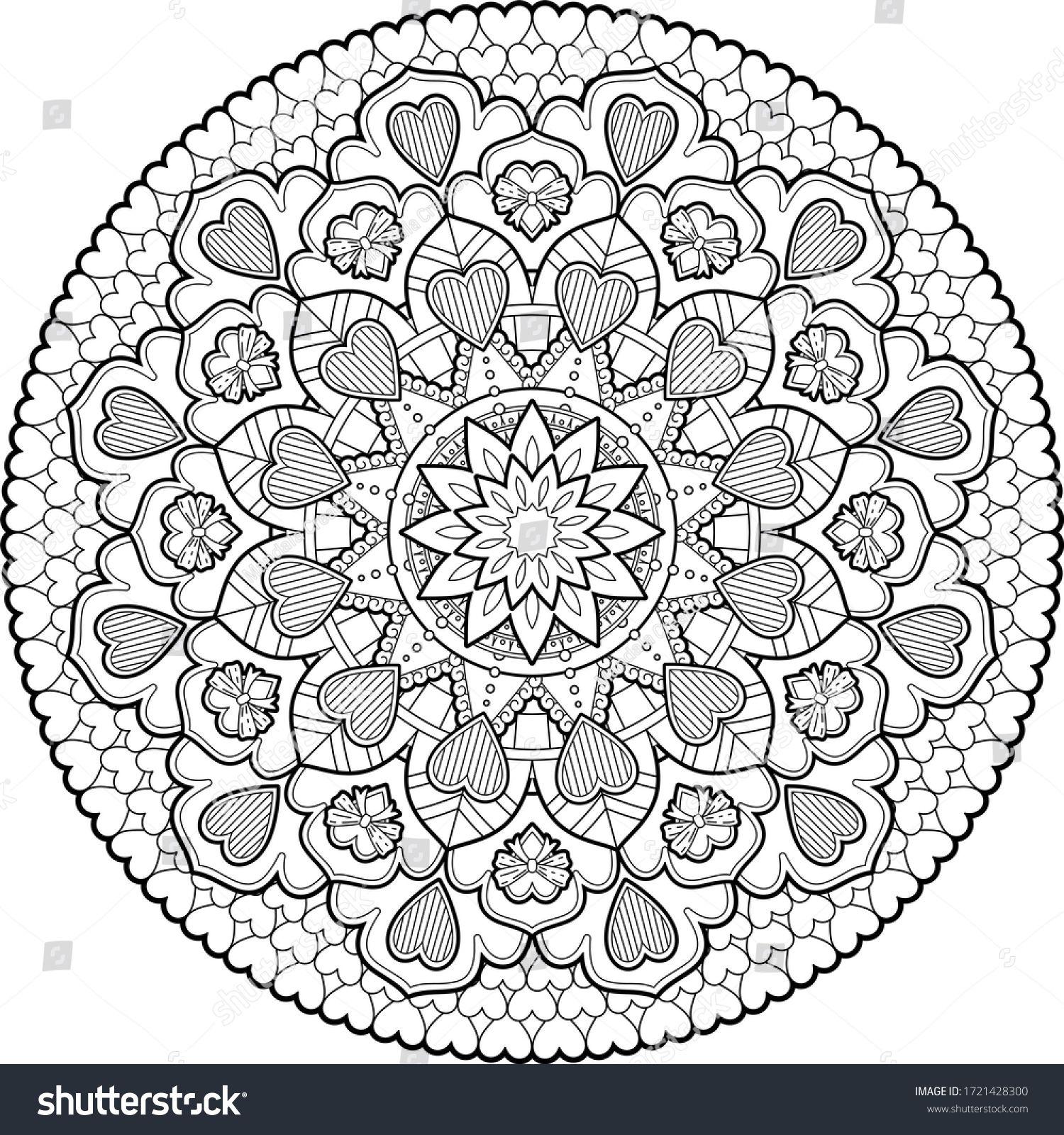Hearts Roses Mandala Art Meditation Color ภาพประกอบสต อก 1721428300 ม นดาลา ภาพประกอบ