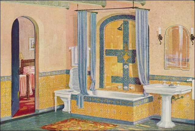 Photo of 1926 Yellow & Blue Tile Bath by Crane