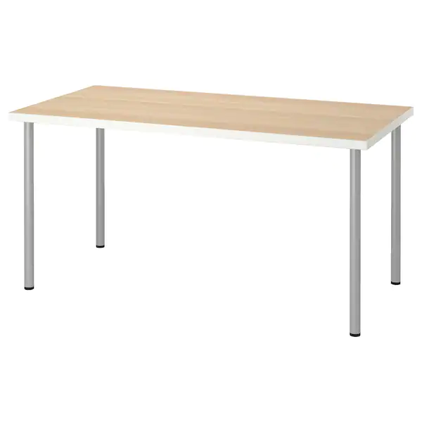 Linnmon Adils Table Blanc Effet Chene Blanchi Gris Argent 150x75cm Trouvez Le Ici Ikea In 2020 Ikea Table White Stain