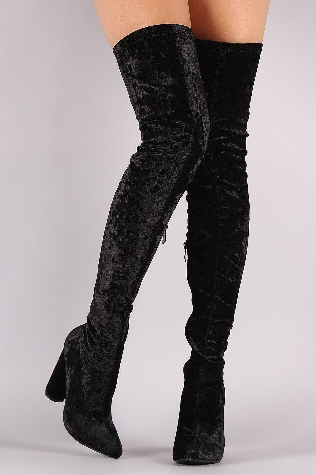 6218b232488 Crushed Velvet Pointy Toe Chunky Heel OTK Boots | Shopify Merchant ...
