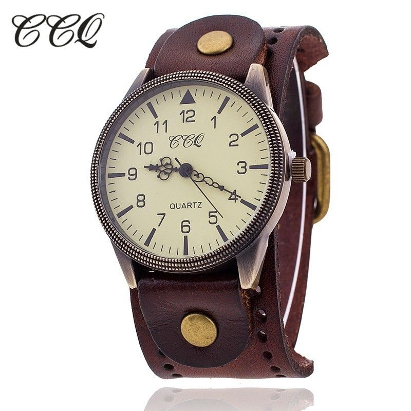 ccq marque femmes vintage en cuir de vache bracelet montre. Black Bedroom Furniture Sets. Home Design Ideas