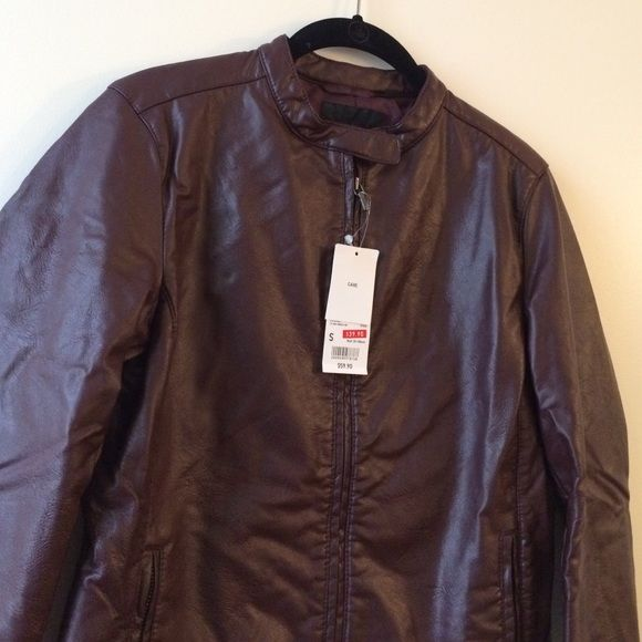 NWT UNIQLO wine synthetic leather biker jacket NWT UNIQLO wine synthetic leather biker jacket. Bust size 33-35 inches. UNIQLO Jackets & Coats