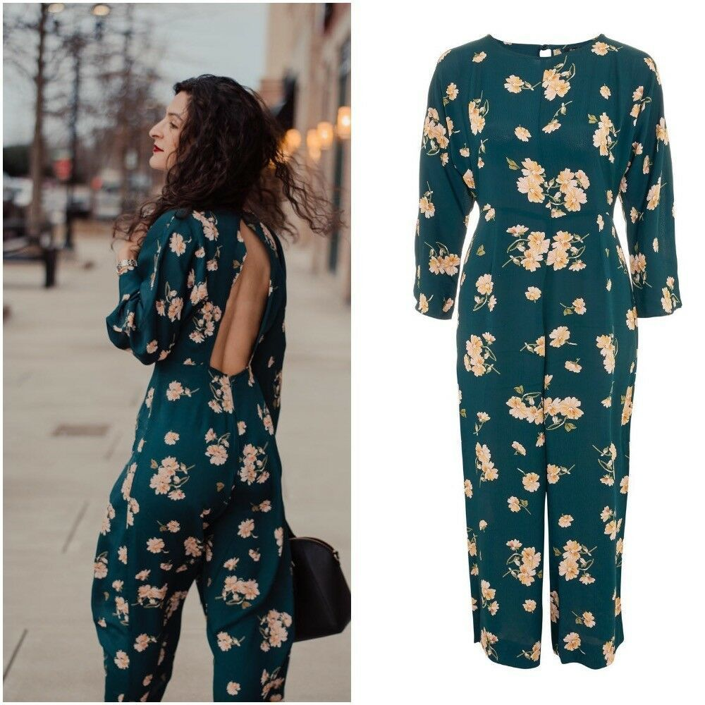 646f3374293 BNWT Topshop Green Floral Print Jumpsuit 12 49 Wedding Cruise Summer Party   fashion  clothing  shoes  accessories  womensclothing  jumpsuitsrompers  (ebay ...