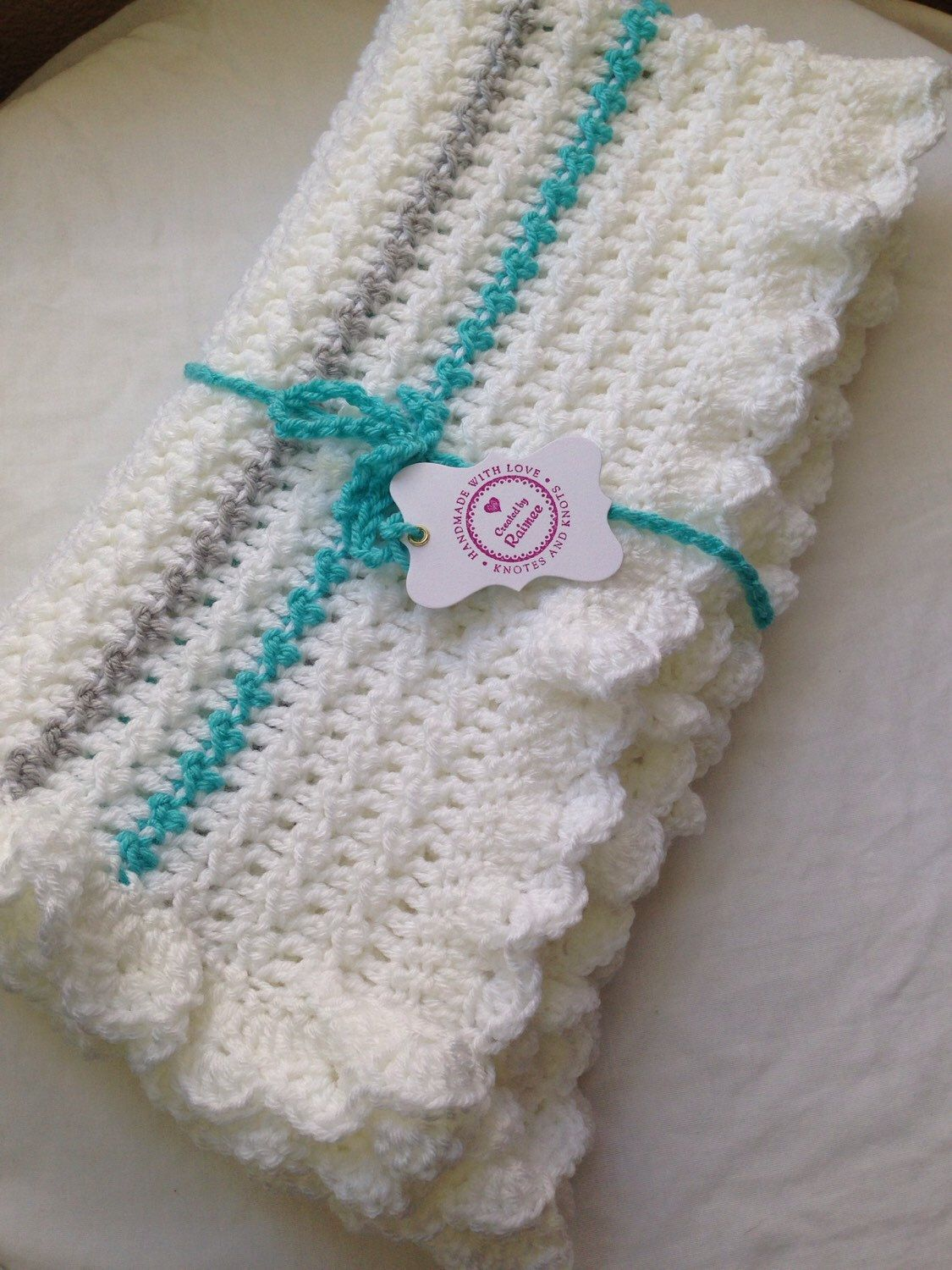 White turquoise and gray crochet baby blanket. Gender neutral baby ...
