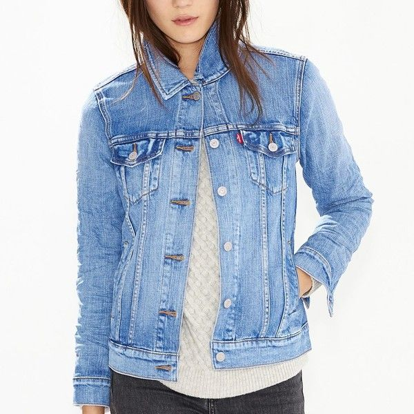 Women's Levi's Boyfriend Jean Jacket ($50) ❤ liked on Polyvore featuring outerwear, jackets, light blue, boyfriend denim jacket, long sleeve denim jacket, light blue jean jacket, trucker jacket and jean jacket
