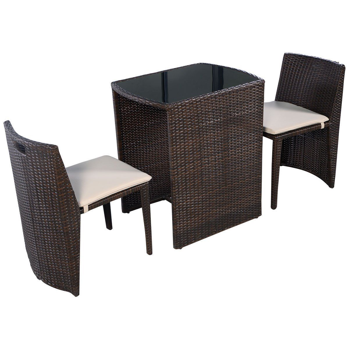 Cushioned outdoor wicker patio set garden lawn sofa furniture seat