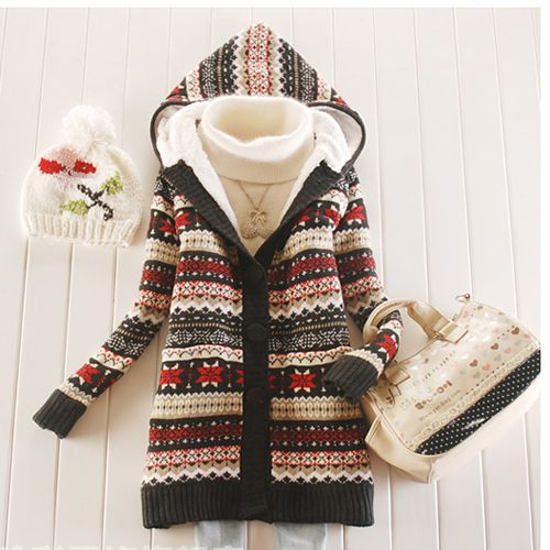 I need this in my life - Women Knitwear Thick Winter Hooded Cardigan Coat  Loose Sweater Jacket Lined Tops  1d1ce262e